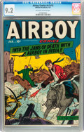 Golden Age (1938-1955):War, Airboy Comics V7#12 (Hillman Fall, 1951) CGC NM- 9.2 Off-white towhite pages....