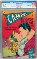 "Golden Age (1938-1955):Romance, Campus Loves #1 Davis Crippen (""D"" Copy) pedigree (Quality, 1949)CGC VF 8.0 Cream to off-white pages...."