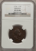 Colonials: , 1724 1/2P Hibernia Halfpenny XF45 NGC. NGC Census: (2/6). PCGSPopulation (11/16). (#190)...