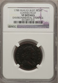Colonials: , 1788 COPPER Connecticut Copper, Mailed Bust Right--EnvironmentalDamage--NGC Details. VF. NGC Census: (2/9). PCGS Populatio...