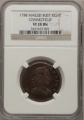 Colonials: , 1788 COPPER Connecticut Copper, Mailed Bust Right VF20 NGC. NGCCensus: (2/9). PCGS Population (7/36). (#397)...
