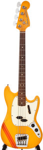 Musical Instruments:Bass Guitars, 1969 Fender Mustang Orange with Competition Stripe Electric BassGuitar, #272449....