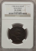 Colonials: , 1788 COPPER New Jersey Copper, Head Right VG10 NGC. NGC Census:(3/9). PCGS Population (1/51). (#521)...