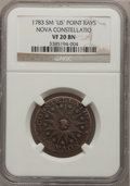 Colonials: , 1783 COPPER Nova Constellatio Copper, Pointed Rays, Small US VF20NGC. NGC Census: (4/29). PCGS Population (4/127). (#801...