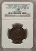 Colonials: , 1783 1C Washington & Independence Cent, Small Military Bust,Plain Edge Fine 15 NGC. NGC Census: (1/11). PCGS Population (1...