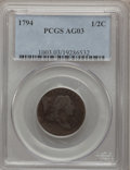 Half Cents: , 1794 1/2 C AG3 PCGS. PCGS Population (5/340). NGC Census: (0/143).Mintage: 81,600. Numismedia Wsl. Price for problem free ...