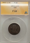Half Cents: , 1803 1/2 C Fine 12 ANACS. C-3. NGC Census: (5/95). PCGS Population(8/154). Mintage: 92,000. Numismedia Wsl. Price for prob...