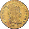 Early Half Eagles, 1798 $5 Large Eagle, Large 8, 13 Star Reverse AU58 NGC. Breen-6428,BD-4, High R.4....