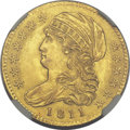 Early Half Eagles, 1811 $5 Small 5 MS63 NGC. Breen-6464, BD-2, R.3....
