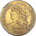 Early Half Eagles, 1807 $5 Bust Left MS61 NGC. Breen-6453, BD-8, R.2....