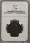 Large Cents: , 1805 1C Fine 12 NGC. S-267. NGC Census: (3/85). PCGS Population(7/133). Mintage: 941,116. Numismedia Wsl. Price for proble...