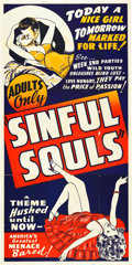 "Movie Posters:Exploitation, Sinful Souls (Unknown, 1930s). Three Sheet (41"" X 81"").. ..."