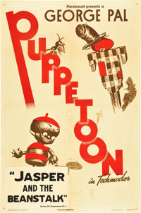 """George Pal Puppetoon Stock (Paramount, 1944). One Sheet (27"""" X 41"""") """"Jasper and the Beanstalk."""""""