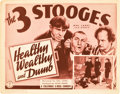 "Movie Posters:Short Subject, The Three Stooges in Healthy, Wealthy and Dumb (Columbia, 1938).Title Lobby Card (11"" X 14"").. ..."