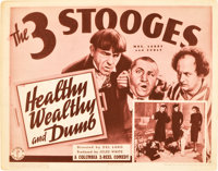 "The Three Stooges in Healthy, Wealthy and Dumb (Columbia, 1938). Title Lobby Card (11"" X 14"")"