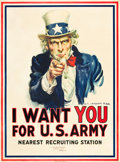 "Movie Posters:War, World War I Propaganda Poster (Leslie-Judge Co., 1917). JamesMontgomery Flagg Poster (30"" X 40"") ""I Want You for U. S. Arm..."