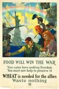 "Movie Posters:War, World War I Propaganda Poster (U.S. Food Administration, 1917).Poster (20"" X 30"") ""Food Will Win the War."". ..."