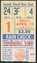 Baseball Collectibles:Tickets, 1962 New York Mets Opening Day Ticket Stub....
