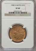Indian Eagles: , 1908-D $10 Motto XF40 NGC. NGC Census: (9/608). PCGS Population(6/603). Mintage: 836,500. Numismedia Wsl. Price for proble...