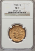 Indian Eagles: , 1910-S $10 XF40 NGC. NGC Census: (24/1194). PCGS Population(31/1336). Mintage: 811,000. Numismedia Wsl. Price for problem ...