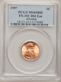 Lincoln Cents, 1997 1C Double Ear MS65 Red PCGS. FS-101 (FS-043). PCGS Population(55/277). NGC Census: (10/113). Numismedia Wsl. Price f...