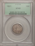 Bust Dimes: , 1821 10C Large Date XF40 PCGS. PCGS Population (17/146). NGCCensus: (13/176). Mintage: 1,186,512. Numismedia Wsl. Price fo...