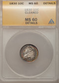 Bust Dimes: , 1830 10C Medium 10C--Cleaned--ANACS. MS60 Details. NGC Census:(0/106). PCGS Population (3/94). Mintage: 510,000. Numismedi...