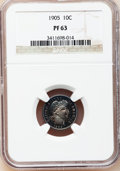 Proof Barber Dimes: , 1905 10C PR63 NGC. NGC Census: (28/133). PCGS Population (47/145).Mintage: 727. Numismedia Wsl. Price for problem free NGC...