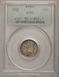 Bust Dimes: , 1832 10C AU55 PCGS. PCGS Population (38/147). NGC Census: (19/196).Mintage: 522,500. Numismedia Wsl. Price for problem fre...