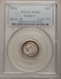 Bust Dimes: , 1834 10C Large 4 XF45 PCGS. PCGS Population (22/92). (#4526). From The Douglas Bust Dime Collection....