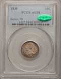 Bust Dimes: , 1835 10C AU58 PCGS. CAC. PCGS Population (43/162). NGC Census:(73/248). Mintage: 1,410,000. Numismedia Wsl. Price for prob...