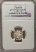 Barber Dimes: , 1901-S 10C --Improperly Cleaned--NGC Details. VF. NGC Census:(1/70). PCGS Population (6/94). Mintage: 593,022. Numismedia W...
