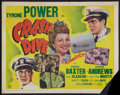 "Movie Posters:War, Crash Dive (20th Century Fox, 1943). British Half Sheet (22"" X28""). War.. ..."
