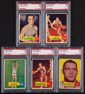 Basketball Cards:Lots, 1957 Topps Basketball PSA NM 7 Graded Collection (5) - All WithoutQualifiers! ...