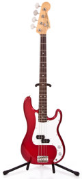Musical Instruments:Electric Guitars, 1989 Fender Precision Bass MI Candy Apple Red Electric Bass Guitar#E 907292...