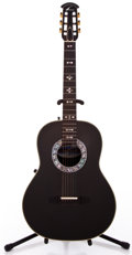 Musical Instruments:Acoustic Guitars, 1980s Ovation 1713 Black Acoustic Electric Guitar #385899...