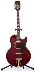 Musical Instruments:Electric Guitars, Recent Epiphone Howard Roberts Wine Red Archtop Electric Guitar #S6099833...