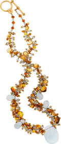 Estate Jewelry:Necklaces, Citrine, Aquamarine, Gold Necklace, Laura Gibson. ...