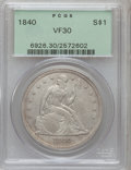 Seated Dollars: , 1840 $1 VF30 PCGS. PCGS Population (10/242). NGC Census: (4/187).Mintage: 61,005. Numismedia Wsl. Price for problem free N...