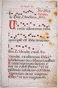 Antiques:Posters & Prints, Antiphonal Manuscript Leaf on Vellum. [Possibly Italy, n.d., ca.1500s]. Large leaf from missal or antiphoner containing 4 b...