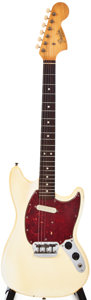 Musical Instruments:Electric Guitars, 1966 Fender Musicmaster 2 Olympic White Solid Body Electric Guitar,#118679....