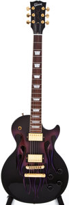 Musical Instruments:Electric Guitars, 2004 Gibson Les Paul Carved Flame Black Solid Body Electric Guitar,#CS41677....