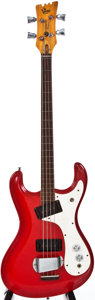 Musical Instruments:Electric Guitars, 1966 Mosrite Ventures Model Red Electric Bass Guitar, #6445....