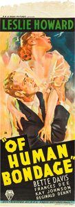 "Movie Posters:Drama, Of Human Bondage (RKO, 1934). Australian Daybill (13"" X 30"").. ..."