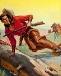 Pulp, Pulp-like, Digests, and Paperback Art, GEORGE ROZEN (American, 1895-1974). Riders of Doublecross Range,Range Riders Western, pulp cover, March 1952. Oil on ca...