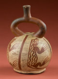 American Indian Art:Pottery, Early Moche Bottle with Iguanas...