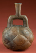 American Indian Art:Pottery, Chavin Fruit Bottle with Deities...