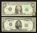 Error Notes:Error Group Lots, Fr. 1913-L $1 1985 Federal Reserve Note. Extremely Fine;. Fr.1962-D $5 1950A Federal Reserve Note. Choice About Uncirculated....(Total: 2 notes)