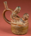 American Indian Art:Pottery, Moche Erotic Stirrup Bottle...