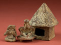 American Indian Art:Pottery, Jalisco and Guanajuato Figures and a Nayarit House... (Total: 3Items)